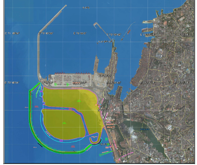 The proposed Colombo Port City, as illustrated on Google Maps. Image Credit: SEIA report for Proposed Colombo Port City