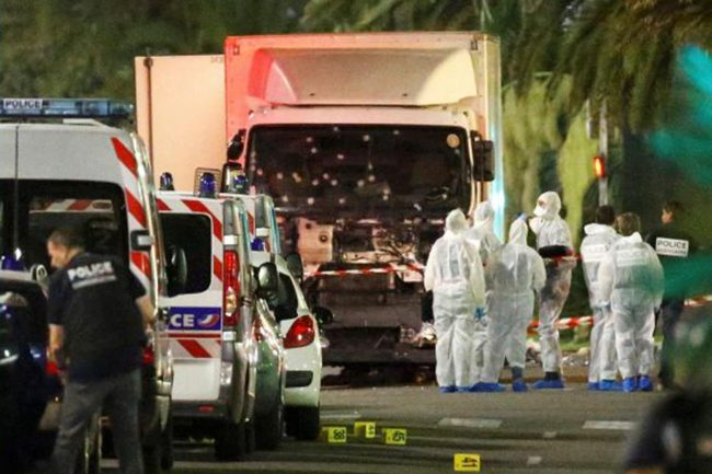 Investigations being carried out on the lorry which carried explosives, killing over 80 in Nice. Image courtesy independent.co.uk
