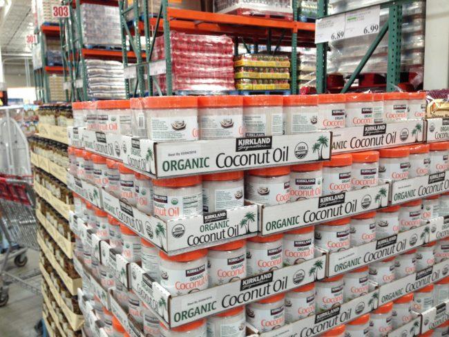 Cases of Kirkland Organic Coconut Oil at Costco. Image credit: guysandgoodhealth.com