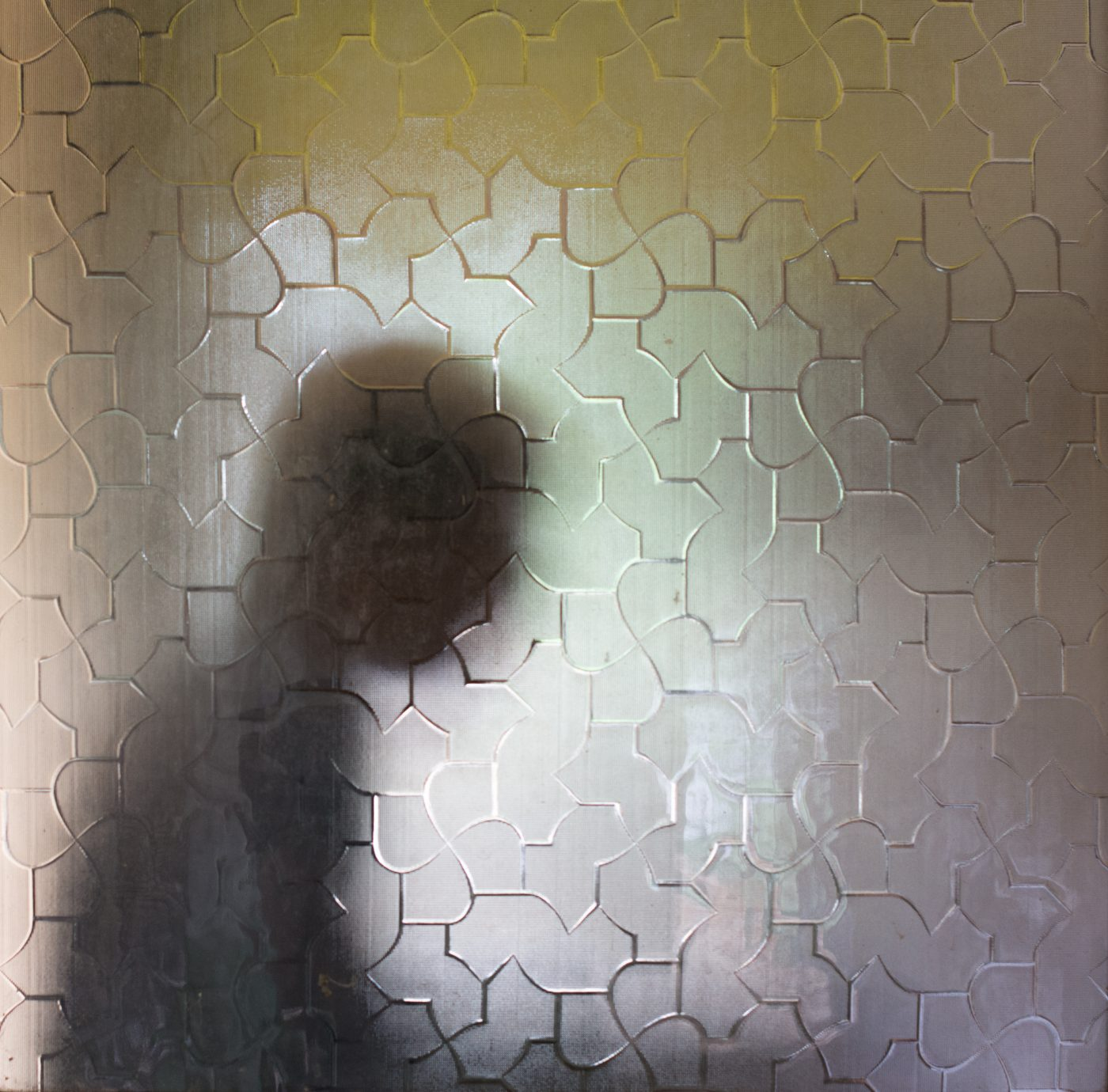 The silhouette of a patient in the general psychiatric ward is seen through a glass door. He was so kind to open the door for everyone passing through. When we were passing by a couple of hours later he was still manning the door.